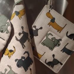 Manique motifs chiens ocre et gris