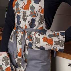 Tablier chats de dos  lin et coton