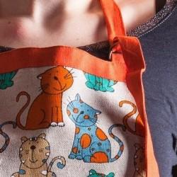 Tablier chats vert/orange  lin et coton