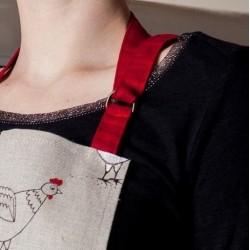 Tablier poules  lin et coton