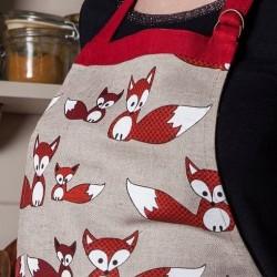 Tablier renards lin et coton