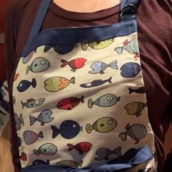 Tablier poissons multicolores lin et coton