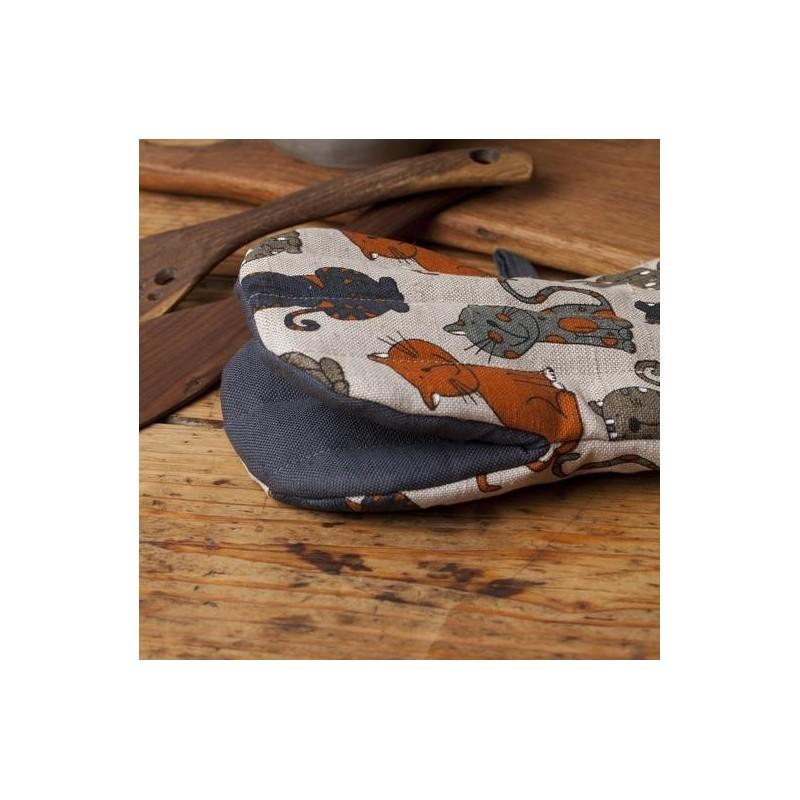 gant pince motif chat gris bleu