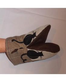 gant pince motif chats de dos