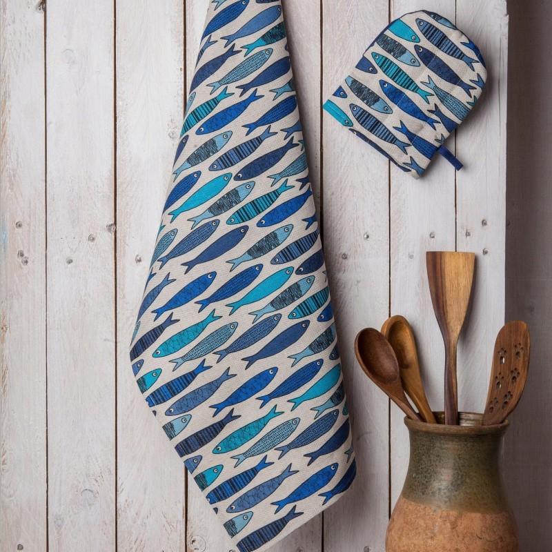 torchon sardines bleues  lin coton