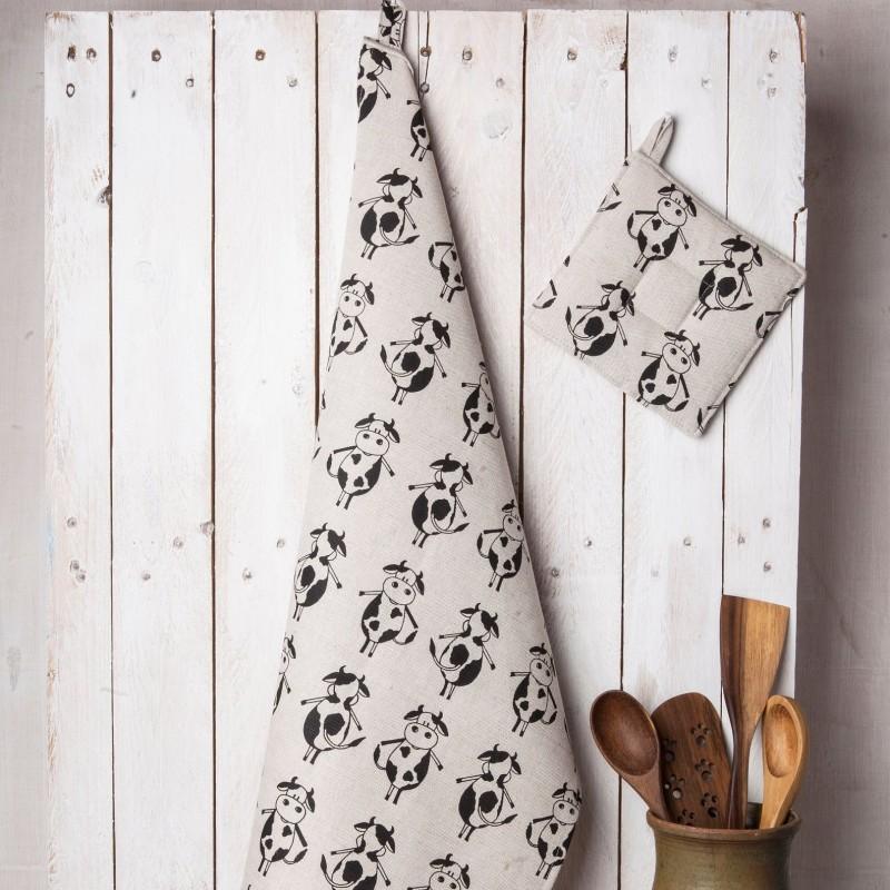Torchon vaches lin et coton