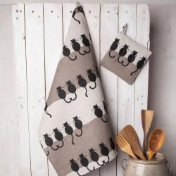 Torchon chats de dos lin et coton