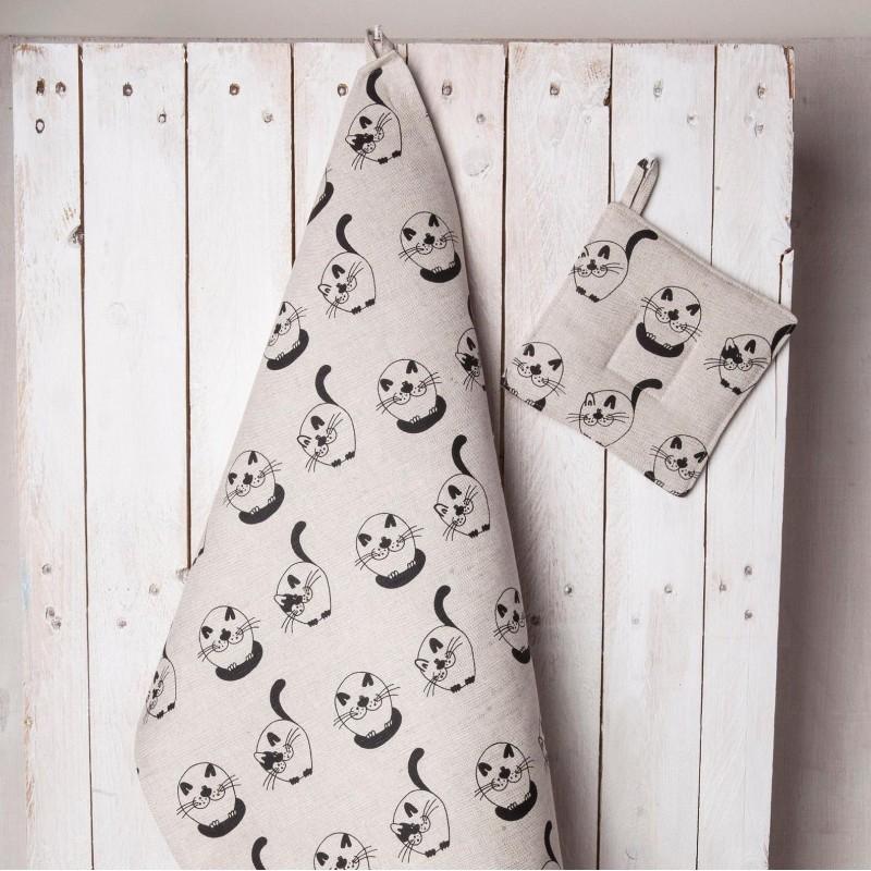 Torchon chats ronds lin et coton