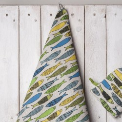 torchon sardines jaunes vertes bleues  lin coton
