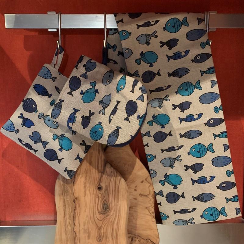 Torchon motif poissons bleus lin et coton
