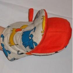 gant pince motif chiens colorés