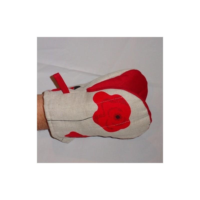 gant pince motif coquelicots