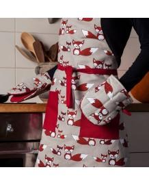 gant pince motif renards