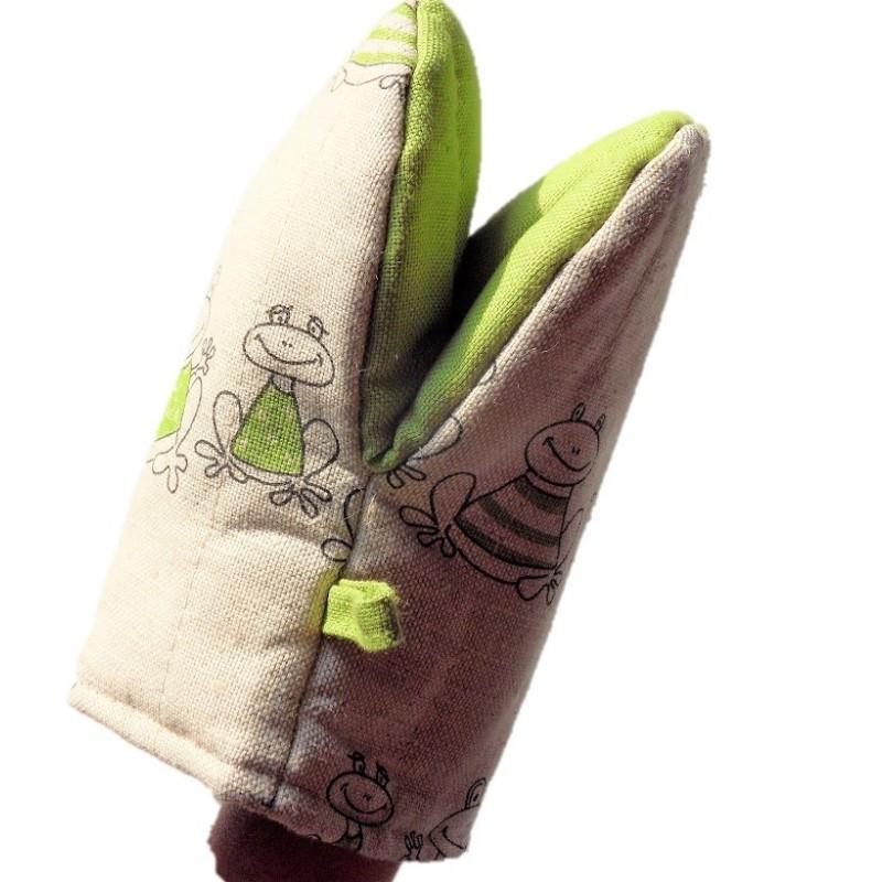 gant pince motif grenouilles