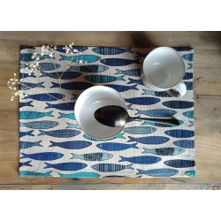 set de table lin et coton motif sardines