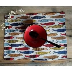 set de table lin et coton motif sardines