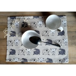 set de table lin et coton motif moutons