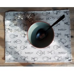 set de table  lin et coton motif poissons