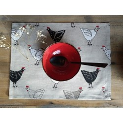 set de table  lin et coton motif poules