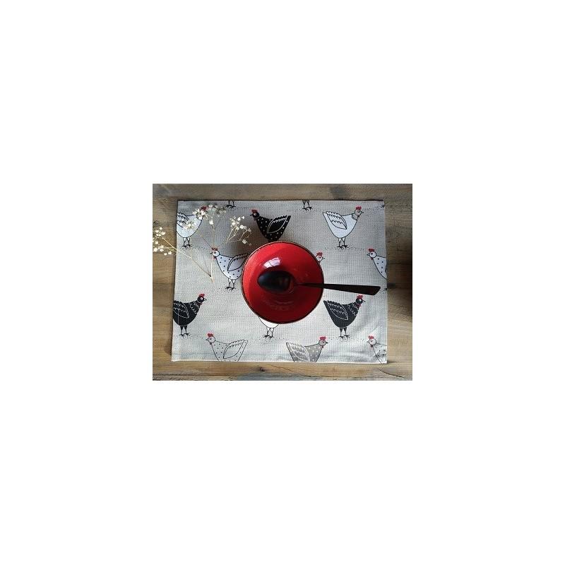 set de table  lin et coton motif poules
