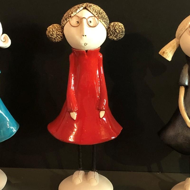 Marlène en robe patineuse rouge